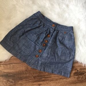 UO Bdg denim button front skirt
